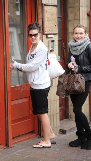 Imogen Thomas arriving for her yoga class in West London Bikram